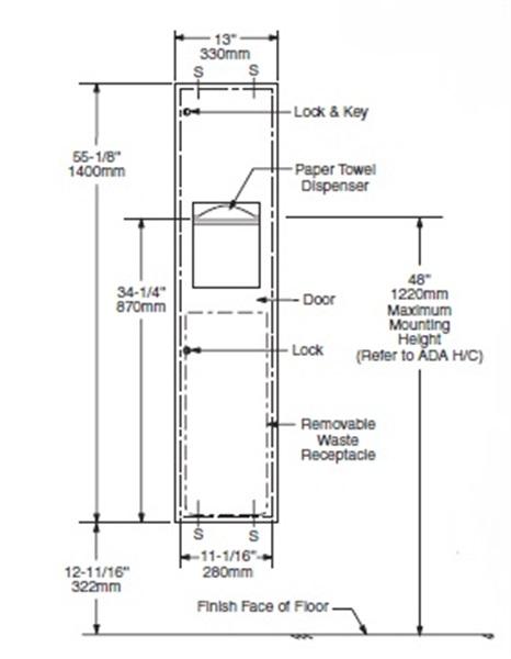 Bathroom Towel Dispenser Plans recessed paper towel dispenser/waste receptacle