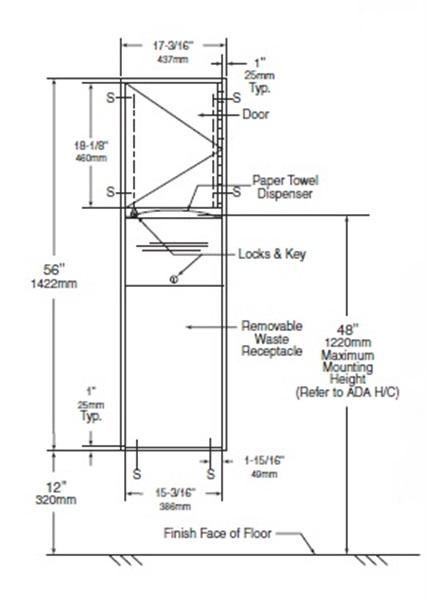 Bathroom Towel Dispenser Plans recessed convertible paper towel dispenser/waste receptacle